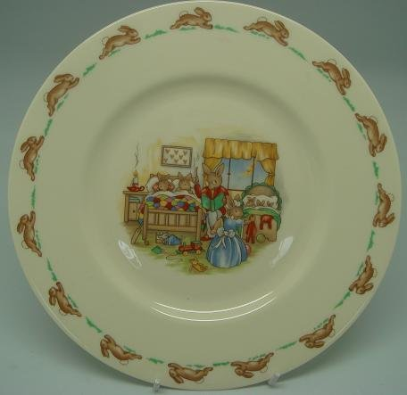 Royal Doulton Bunnykin Plate - bedtime story - child baby plate