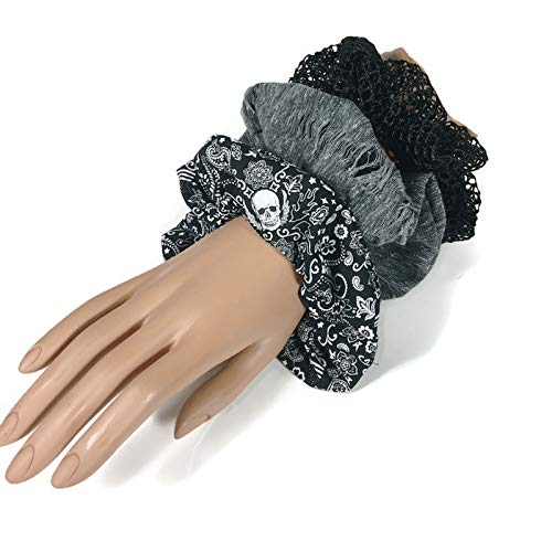 Set of 3 Halloween Scrunchies Goth Scrunchies Skull Scrunchie Grunge Scrunchie Black Mesh Scrunchie Hair Elastics Messy Bun Tie ()