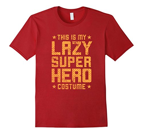 Easy Superhero Costume Men (Mens Lazy Super Hero Costume - Easy Halloween Costume Shirt 2XL Cranberry)