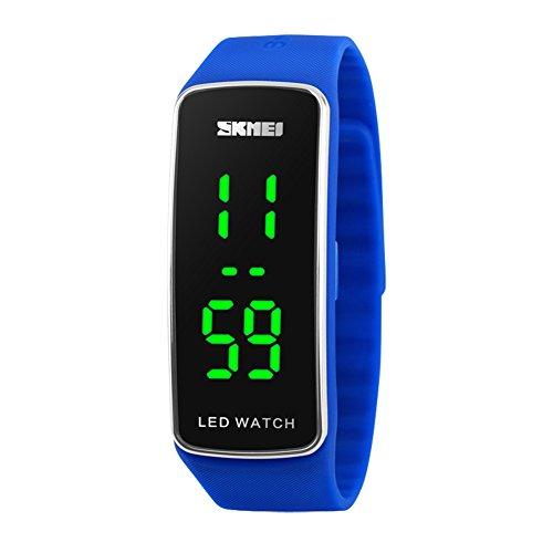 Led Digital Watch (Kortusa LED Sport Digital Wrist Watch 50M Waterproof for Kids Boys Girls Men Women Silicone Bracelet Watch Blue)
