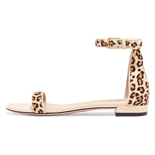 - YDN Womens Chic Block Low Heel Sandals with Buckle Solid Ankle Strap Flat Shoes Comfy Leopard 9