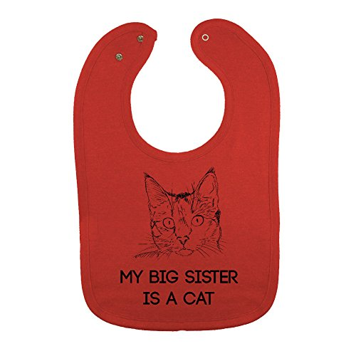 (We Match! Unisex-Baby - My Big Sister Is A Cat Thick PREMIUM 2-Ply Cotton Baby Bib With Snaps (Vintage Red))