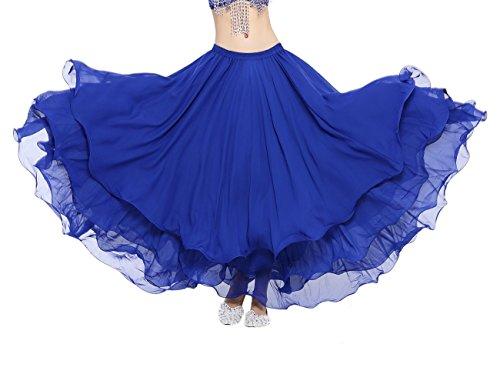 Dance Fairy Belly Dance Chiffon Tiered Maxi Skirt,Dark Blue (Dance Costumes Performance Wear)