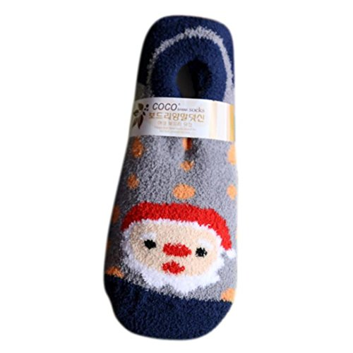 Kintaz Christmas Girls Suede Socks Cute Unisex Non-slip Soft Breathable Warm Slippers Lined Socks (Navy)
