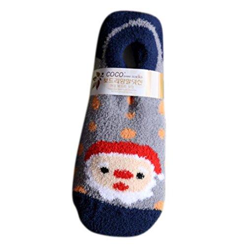 - Kintaz Christmas Girls Suede Socks Cute Unisex Non-slip Soft Breathable Warm Slippers Lined Socks (Navy)