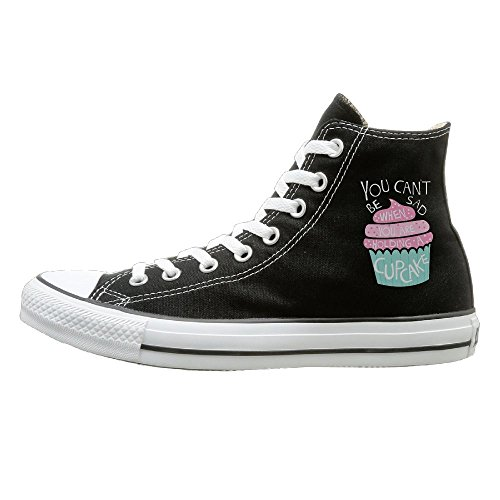 SH-rong You Can't Be Sad When You Have Cupcakes High Top Sneakers Canvas Shoes Slip-On Casual Sneaker Unisex Style Size 43