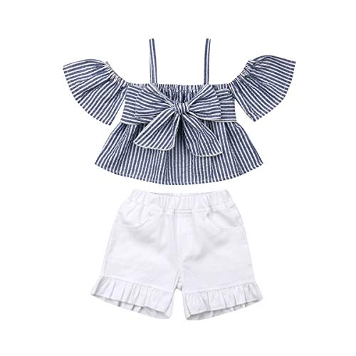 Kids Toddler Baby Girls Off Shoulder T-Shirt Tops+Shorts Pants Outfit Clothes Set Summer (Striped+White, 3-4 Years)