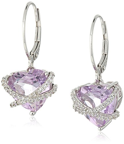 Sterling Silver Gemstone and Created White Sapphire Wrapped Heart Leverback Dangle Earrings