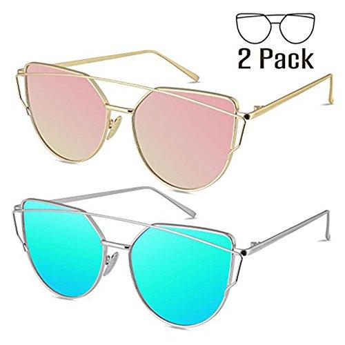 Livhò Sunglasses for Women, Cat Eye Mirrored Flat Lenses Metal Frame Sunglasses UV400 (GOLD PINK+SILVER SKY BLUE) by Livhò