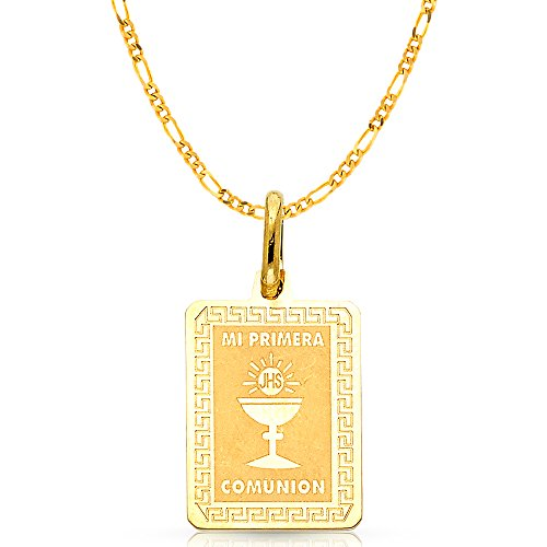 14K Yellow Gold Communion Charm Pendant with 2.3mm Figaro 3+1 Chain Necklace - 22