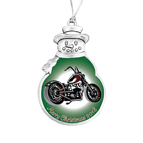 Motorcycle Biker Chopper Snowman Merry Christmas 2018 Silver Ornament Gift Hog ()