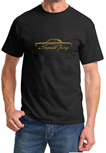 [1965-66 Plymouth Sport Fury Coupe Classic Color Outline Design Tshirt XL gold] (1965 Plymouth Sport Fury)