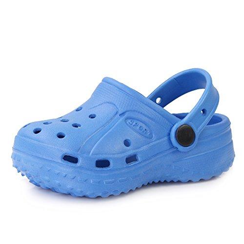 EQUICK Boys & Girls EVA Garden Clogs Lightweight Beach Sandals Shoes(Toddler/Little Kid) U2DDXT001-blue-18 (Toddler Footwear Light Blue)