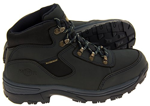 Northwest Territory Womens Leather Hiking Boots Walking Shoes Navy Blue 5qPCk9