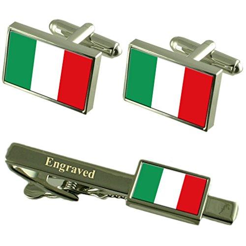 Boutons de manchette Drapeau Italie Cravate gravé Coffret Correspondance