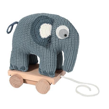 wolkenblau 24cm x 13cm x 25cm 100/% Baumwolle mit Holz R/ädern ab 1 Jahr Geschenk NEU Sebra0414 Elefant Sebra H/äkel-Nachziehtier