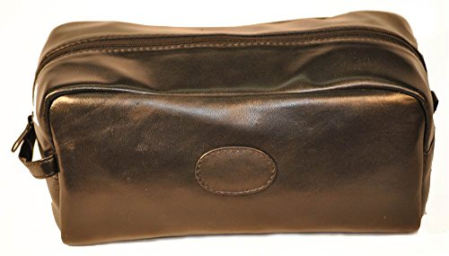 Toiletry Bag with Top Zipper in Black by Budd Leather