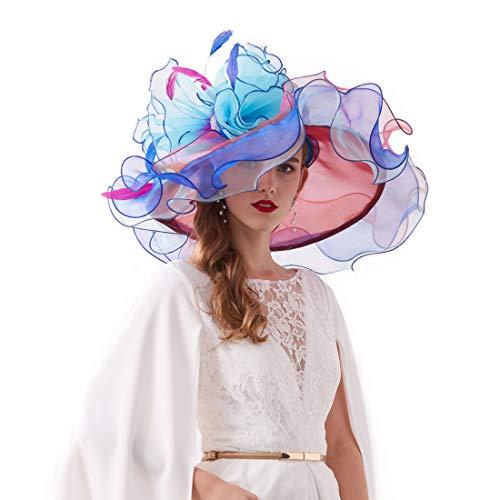 (Women's Organza Church Kentucky Derby British Fascinator Bridal Tea Party Wedding Hat Summer Ruffles Cap (H3-Light Blue)