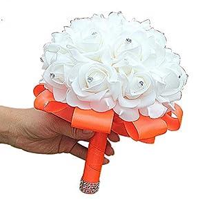 Hozhang White PE Rose Bridesmaid Wedding Foam Flowers Rose Bridal Bouquet Ribbon Fake Wedding Bouquet 15 Color You Can Custom 86