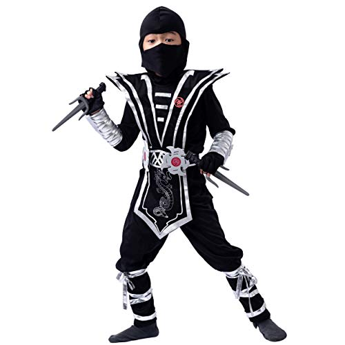 Silver Ninja Deluxe Costume Set with Ninja Foam Accessories Toys for Kids Kung Fu Outfit Halloween Ideas(Small (5 -