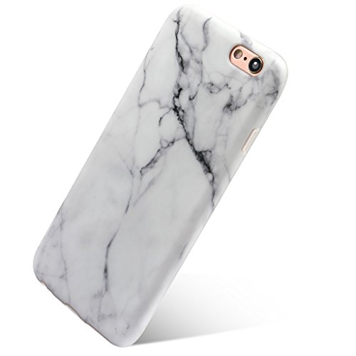 iPhone 6 Plus 6S Plus 5.5 TPU Slim Fit Ultra Dünn Stoßfest Anti-Kratz Anti-Fingerabdruck Matt Schutzhülle Gehäuse, Plastik, Marmor (Weiß)