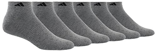 adidas Mens Athletic Cushioned Low Cut Socks (6-Pair), Heather Grey/Black, Large, (Shoe Size 6-12)