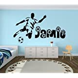Personalised Football vinyl wall art sticker - 16 colours available & 4 Sizes - kids16 (4 - X Large 100 x 60 cm)