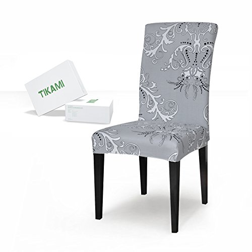 TIKAMI 6PCS Spandex Printed Fit Stretch Dinning Room Chair Slipcovers (6,Gray) (Wingback Slipcover Chair Grey)