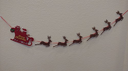 Xmas Decorations Handmade - Seasons Treasure 9ft Handmade Christmas Decoration Soft Felt Banner Garland with 6 pcs Deer Banner and 1pcs Big Sleigh for Xmas Decor (Deer)