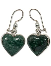 Sterling Silver and Jade Heart Shaped Dangle Earrings, 'Wild Heart'