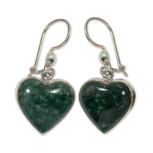 Ring Jade Earring (NOVICA Sterling Silver and Jade Heart Shaped Dangle Earrings, Wild Heart')