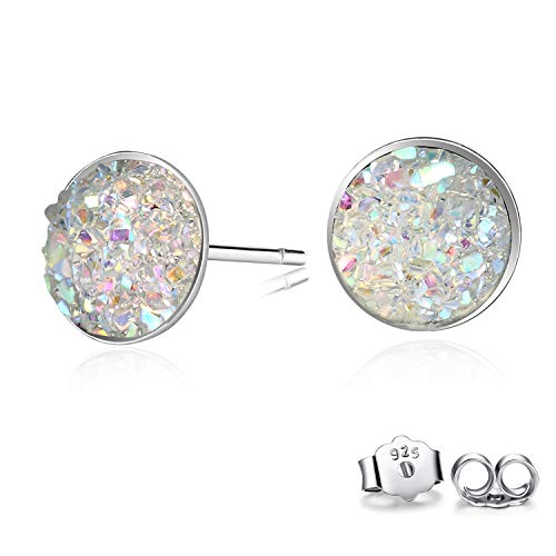 - CERSLIMO Round Cut Druzy Earrings Sterling Silver Opal White Earing For Women