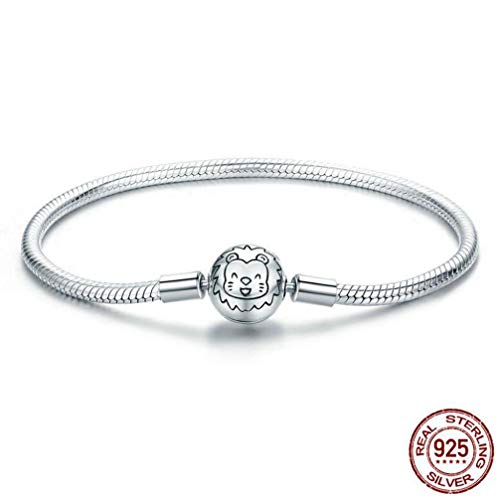 Bracelet Pendant Jewelry, 925 Sterling Silver Cartoon Lion Pendant Platinum Inlay Zircon Bracelet Queen Charm, Valentine's Day, Mother's Day and Daughter's Birthday Gift,18cm