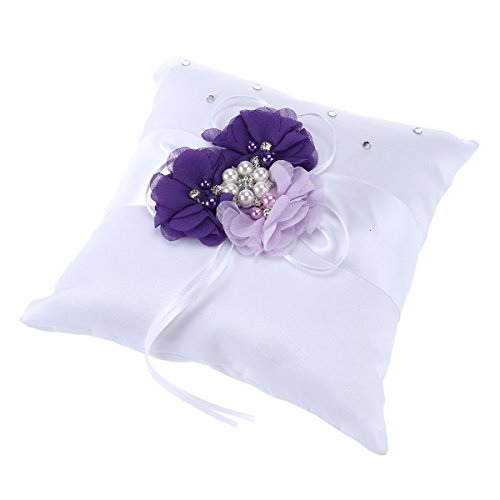 NUOLUX Ring Bearer Pillow,2020cm Wedding Ring Pillow Pearl Flower Decorated