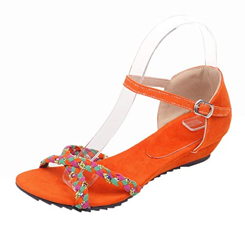 VogueZone009 Women Frosted Buckle Open-Toe Low-Heels Assorted Color Sandals, CCALO013027 Orange
