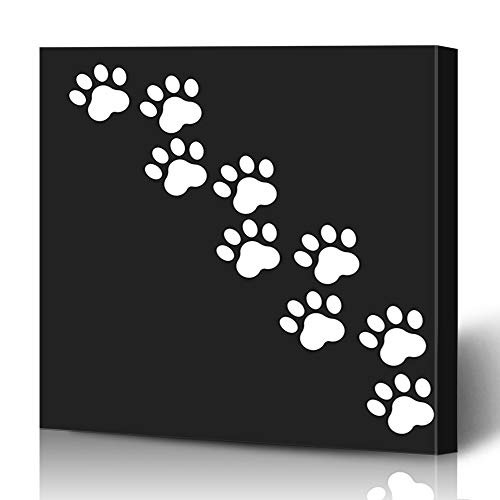 (Ahawoso Canvas Prints Wall Art 16x16 Inches Impression Control Paw Dog Cat Imprint Flat Foot Footprint Grooming Health Online Decor for Living Room Office Bedroom)