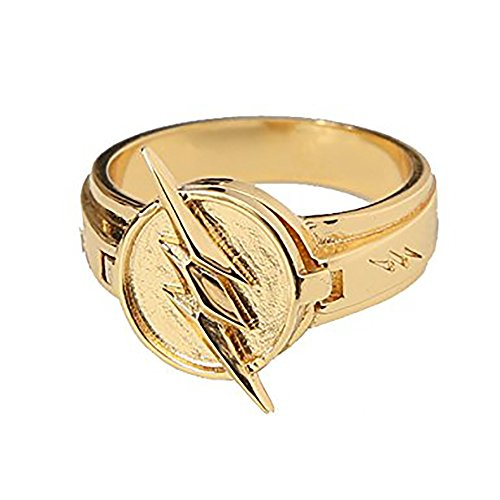 Reverse Flash Ring Golden Size 8 Zinc Alloy Lightning Logo Cosplay (Lightning Returns Costumes)