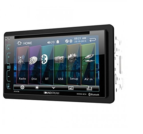 Soundstream VR-65B Double-DIN Bluetooth DVD/CD/AM/FM In-Dash Car Stereo With 6.2