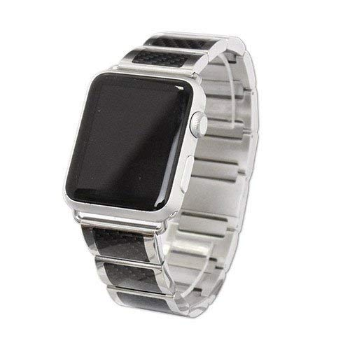 iBand Pro Stainless Steel band with black carbon fiber picture inlay and magnetic closing clasp Fits 42mm Apple -