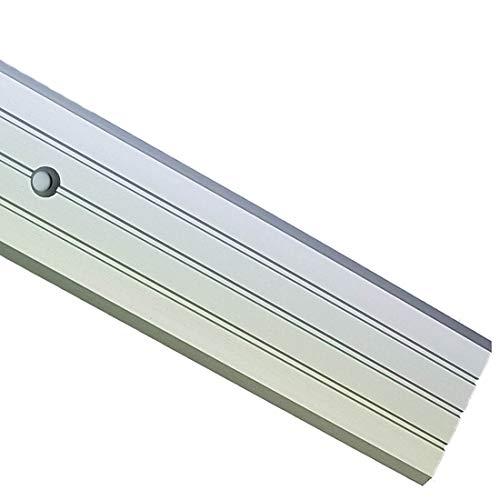 2M Flat Carpet Cover Door Strip Aluminium Rail Drilled Fluted Floor 40mm LPPS-40 TMW Profiles (Silver)