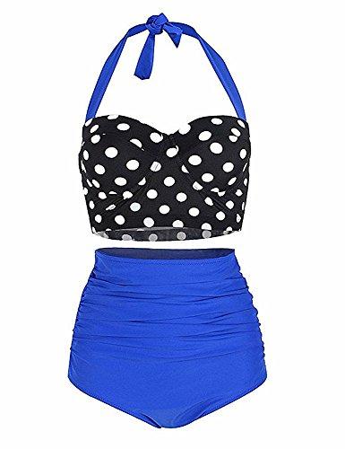 YCYS Women's Vintage Bikini Two Pieces Swimsuit Polka Dot High Waist Adjustable Strap Bathing Suits (2XL=US Size 12-14, Blue)