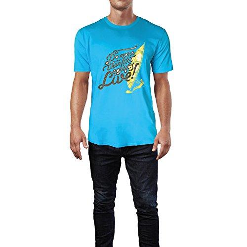 SINUS ART® Do More Then Just Live! Mit Windsurfer Herren T-Shirts in Karibik blau Cooles Fun Shirt mit tollen Aufdruck