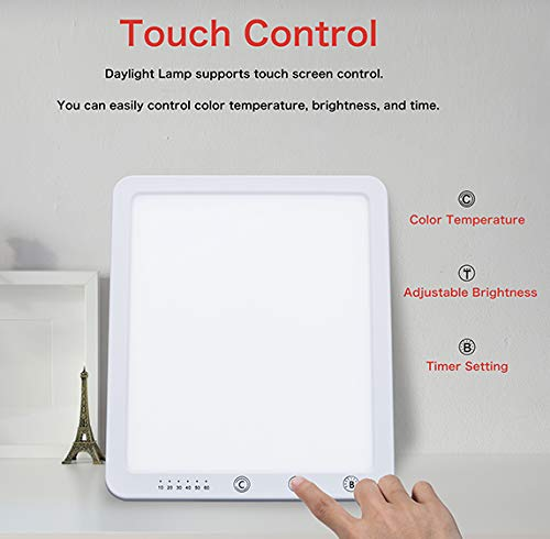 SAD Lamp,Aogled 10000 Lux Natural Daylight LED Light Box with Timer Function,Touch Control,Sunlight Energy Lamp with 5 Adjustable Brightness 3000K-6500K,Daylight Lamp for Home/Office/Apartment