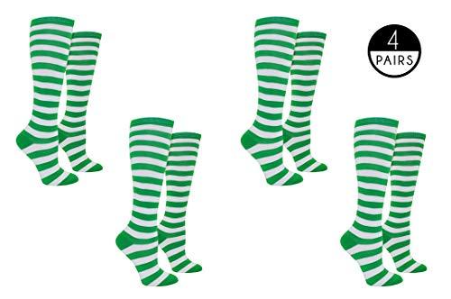 - Everything Legwear Rugby Socks Women - Striped Knee High Sport Novelty Socks - Fits Shoe Size: 4-10 (Ladies) (Green)