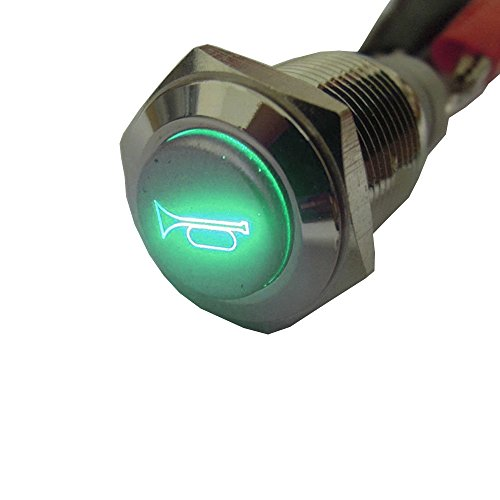 E Support™ 12V Car Vehicle Green LED Light Momentary Speaker Horn Push Button Metal Switch (Push Button Horn Switch)