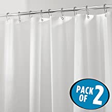 """mDesign Mildew-Free PEVA 4.8 Gauge Shower Curtain Liner - Pack of 2, Stall, 54"""" x 72"""", Frost"""