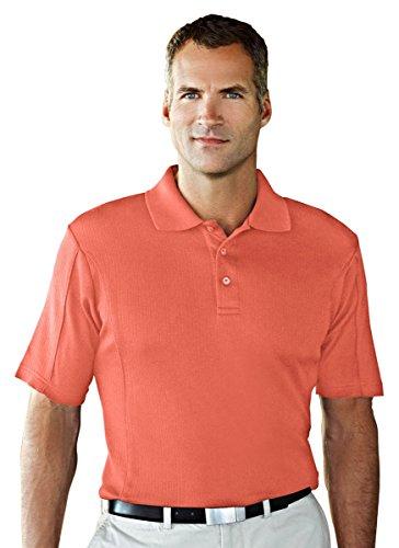 [Tri-mountain Cotton/poly UltraCool vertical striped jacquard golf shirt. 428TM - CORAL_XL] (Fit Three Panel Tri Vent)