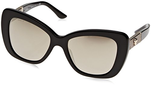 Versace Women's VE4305Q Sunglasses Black / Light Brown Mirror Gold - And Versace Black Gold Sunglasses
