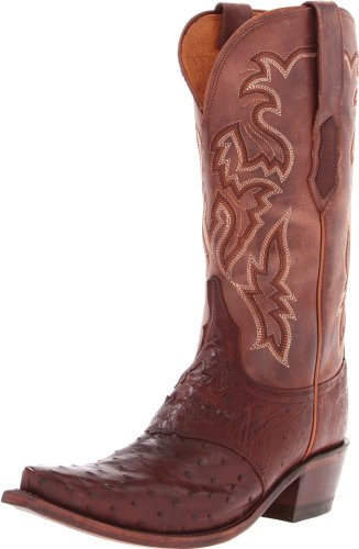 Ladies Full Quill Ostrich Boots - Lucchese Classics Women's M5601 Boot,Sienna Burnished