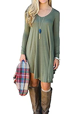 iGENJUN Women's Long Sleeve V-Neck Casual Loose Dress Long Tunics